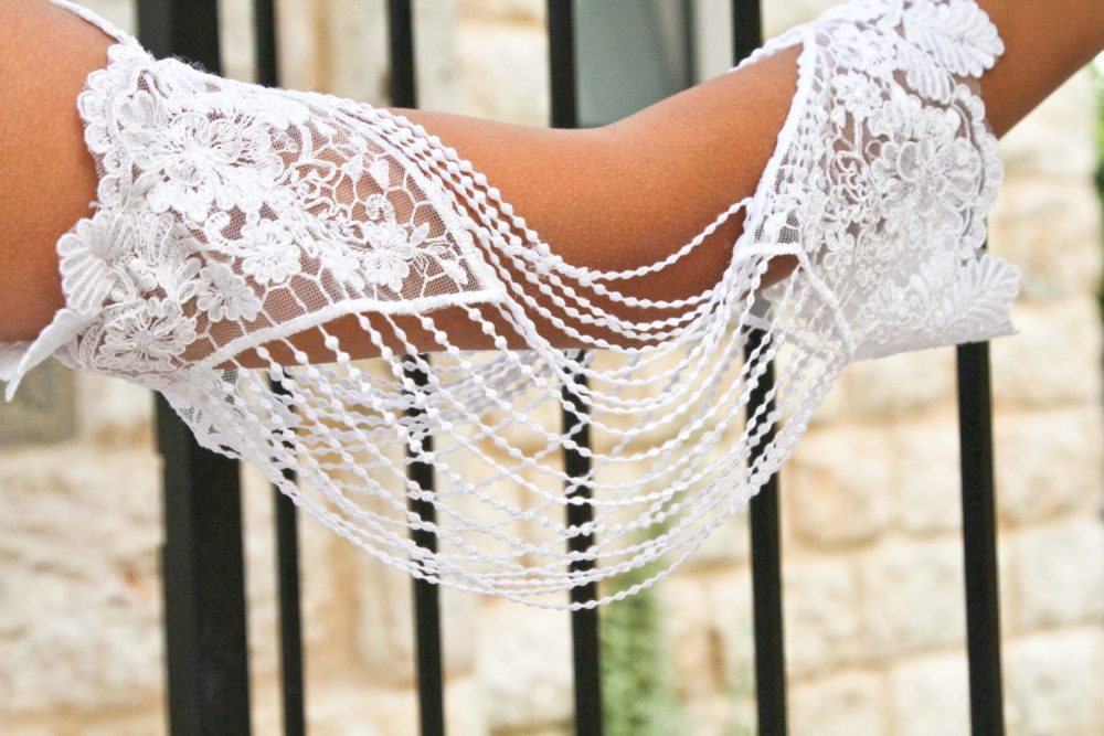 Bridal Shoulder Necklace, Detachable Sleeve Boho wedding dress, Sharon Guy Studio